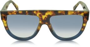 Celine CL41026/S Shadow Havana Blue Acetate Sunglasses