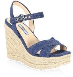 Prada Denim& Raffia Wedge Sandals