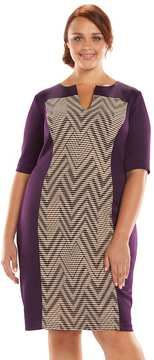Connected Apparel Plus Size Pintuck Sheath Dress