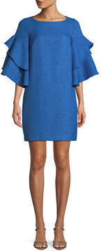 Badgley Mischka Bateau-Neck Trumpet-Sleeve Mini Dress