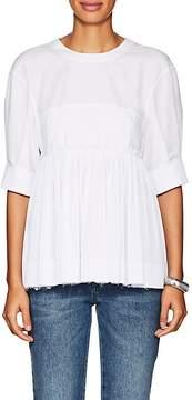 Cédric Charlier Women's Pleated-Hem Cotton-Blend Blouse