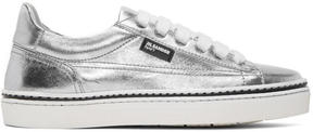 Jil Sander Navy Silver Leather Classic Sneakers