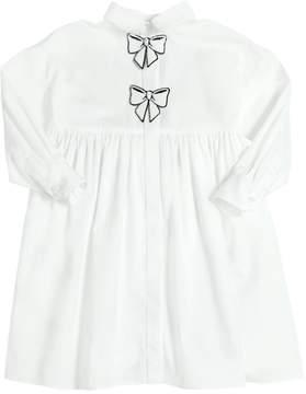 Dolce & Gabbana Sequined Bow Stretch Cotton Poplin Dress