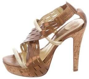 Diane von Furstenberg Metallic Platform Sandals