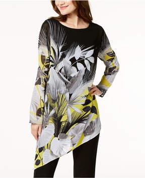 Alfani Asymmetrical Printed Tunic Blouse, Created for Macy's