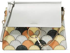 Chloé Faye Studded Medium Patchwork Leather And Suede Shoulder Bag - Light gray