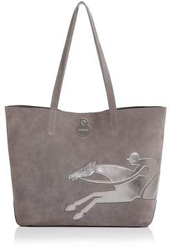 Longchamp Shop It Medium Suede Tote - CAMEL/SILVER - STYLE