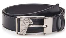 Versace Men's Medusa Steel Buckle Leather Belt Black V91205s.