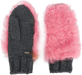 Prada fur patch mittens