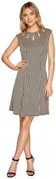Christin Michaels Lucy Sleeveless Houndstooth Dress with Neck Detail Women's Dress