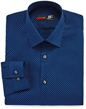 Jf J.Ferrar Easy- Care Stretch Long Sleeve Broadcloth Dots Dress Shirt - Slim