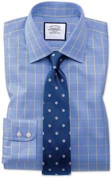Charles Tyrwhitt Extra Slim Fit Non-Iron Prince Of Wales Blue and Gold Cotton Dress Shirt French Cuff Size 15/33
