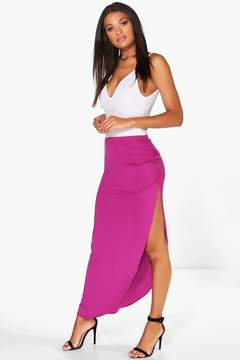 boohoo Tamsin Ruched Side Jersey Maxi Skirt
