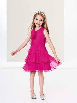 Oscar de la Renta Tiered Silk-Chiffon Bow Dress