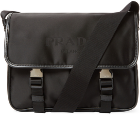 Prada Leather Trimmed Shell Messenger