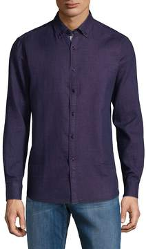 Report Collection Men's Textured Cotton Button-Down Shirt