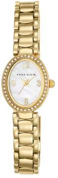 Anne Klein Crystal Bezel Goldtone Oval White Dial Bracelet Watch