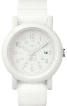 Timex TW2P88200 Camper Unisex White Nylon Band With White Analog Dial Watch NWT