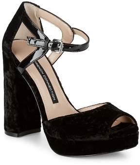 French Connection Women's Peep-Toe Textile Block Heel Sandals
