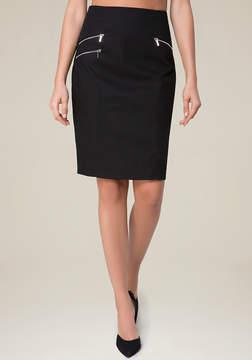 Bebe Cotton Twill Zip Midi Skirt