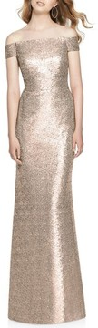 Dessy Collection Women's Sequin Off The Shoulder Gown