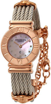 Charriol St Tropez Pink Mother of Pearl Diamond Dial Two Tone Ladies Watch