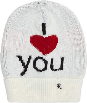 Raf Simons I Love You knitted wool beanie
