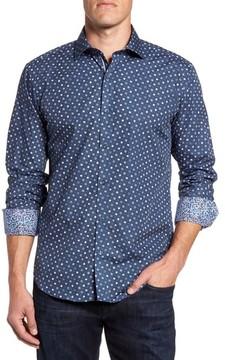 Bugatchi Men's Shaped Fit Flower Print Sport Shirt