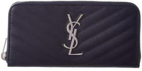 Saint Laurent Monogram Leather Zip Around Wallet - BLUE - STYLE