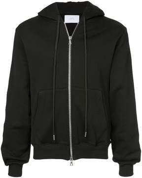 Stampd check stripe zip front hoodie