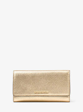 Michael Kors Mercer Tri-Fold Metallic Leather Wallet - GOLD - STYLE