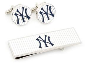 Ice Yankees Pinstripe Cufflink and Money Clip Gift Set