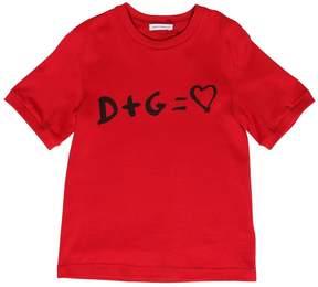 Dolce & Gabbana D+g = Love Printed Cotton Jersey T-Shirt