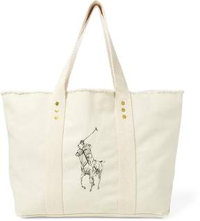Ralph Lauren Frayed Canvas Large Tote