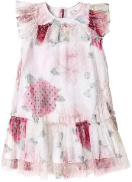 MonnaLisa Roses Stretch Swiss Dot Tulle Dress