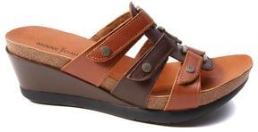 Minnetonka Tia Leather Wedge Slide Sandal