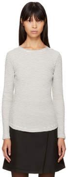YMC Ecru and Navy Long Sleeve Striped Charlotte T-Shirt