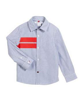 Givenchy Striped Button-Down Shirt w/ Red Details, Size 12