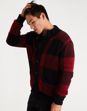 American Eagle Outfitters AE Buffalo Check Mock Neck Cardigan
