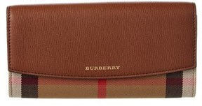 Burberry Porter House Check & Leather Continental Wallet. - TAN - STYLE