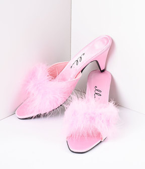 Unique Vintage Pink Satin & Maribou Feather Phoebe Slip-On Heels Shoes