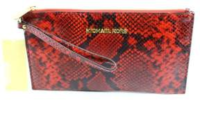 Michael Kors Bedford Women's Large Embossed Leather Zip Wristlet - RED PYTHON - STYLE