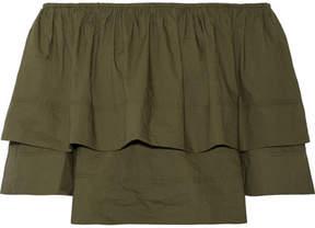 Apiece Apart Neroli Off-the-shoulder Ruffled Cotton-poplin Top - Green