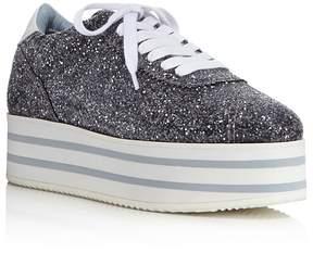 Chiara Ferragni Women's Glitter Platform Lace Up Sneakers