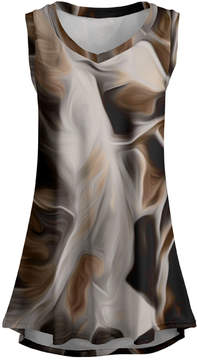 Lily Brown & Beige Abstract Sleeveless Tunic - Women & Plus