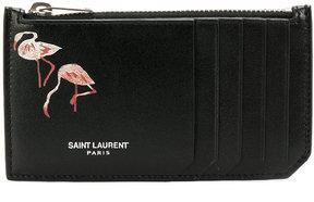 Saint Laurent Flamingo cardholder wallet