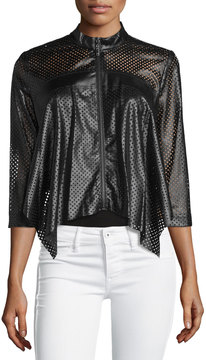 Alberto Makali Perforated Faux-Leather Jacket, Brown