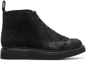 Grenson Black Suede Mickey Lace-Up Boots