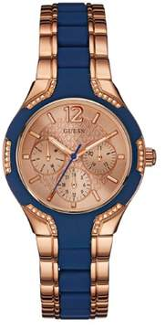 GUESS Men's Blue and Rose Gold-Tone Feminine Style Watch