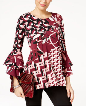 Alfani Printed Tiered Bell-Sleeve Top, Created for Macy's